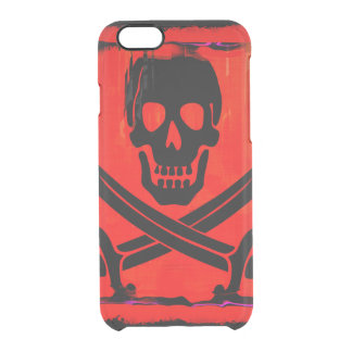 Skull with Crossed Swords Creepy Artwork Clear iPhone 6/6S Case
