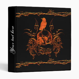 Skull with crow and floral elements binder