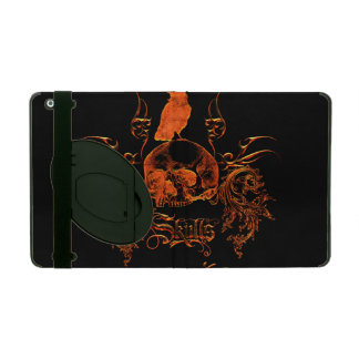 Skull with crow and floral elements iPad cover
