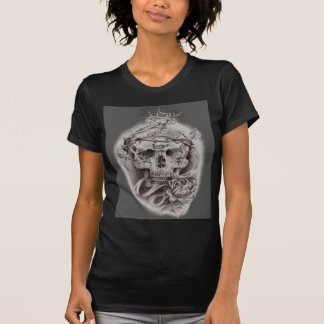 Skull with Crown of Thorns and Rose T-Shirt