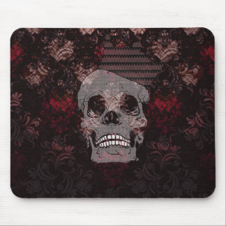 Skull with Crown on Grunge Black Lace Red Damask Mouse Pad