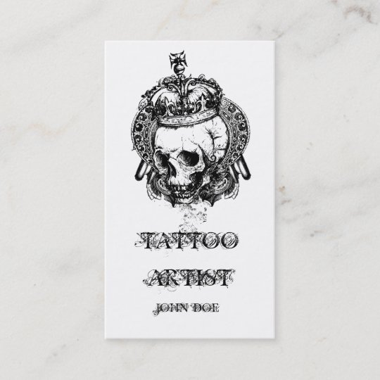 skull with crown tattoo artist business card - Tattoo Artist Business Cards