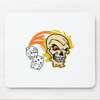 SKULL WITH DICE MOUSE PAD