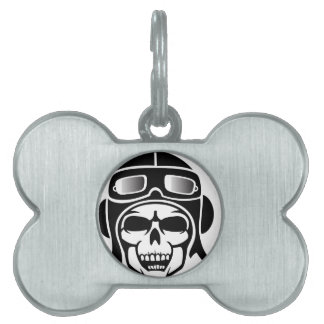 Skull with engine with pet tag