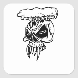 Skull With Fangs Square Sticker