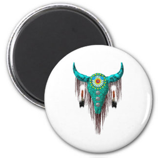 Skull with Feathers Fridge Magnet
