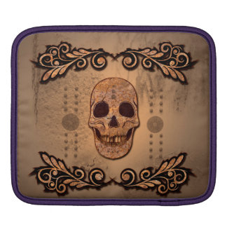 Skull with floral elements sleeve for iPads