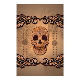 Skull with floral elements stationery