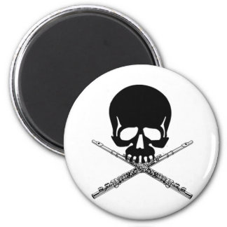 Skull with Flutes as Crossbones Magnet