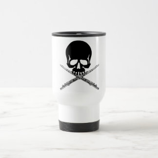 Skull with Flutes as Crossbones 15 Oz Stainless Steel Travel Mug