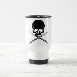 Skull with Flutes as Crossbones Travel Mug
