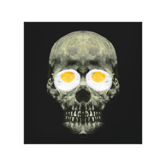 Skull with Fried Egg Eyes Canvas Print