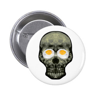 Skull with Fried Egg Eyes Pinback Button