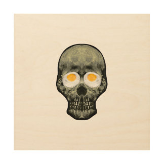 Skull with Fried Egg Eyes Wood Wall Art