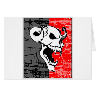 Skull with fund cinze and red card
