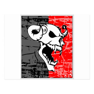 Skull with fund cinze and red postcard