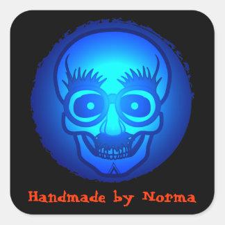 Skull with funny glasses 2 square sticker