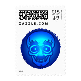Skull with funny glasses postage