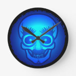 Skull with funny glasses wall clock