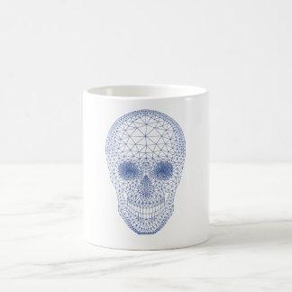 Skull with geometric mesh pattern classic white coffee mug