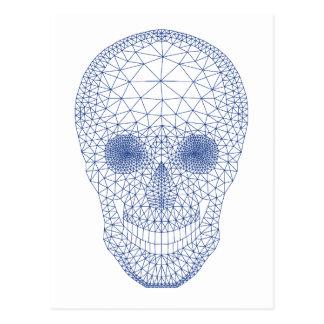 Skull with geometric mesh pattern postcard