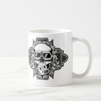 Skull with glasses classic white coffee mug