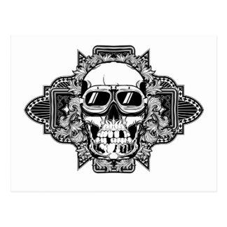 Skull with glasses postcard