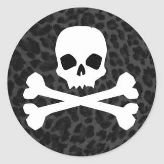 Skull with Gray Leopard Print Classic Round Sticker