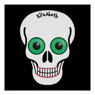 Skull with Green Eyes and Red Lips Poster