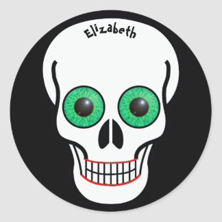Skull with Green Eyes and Red Lips Sticker