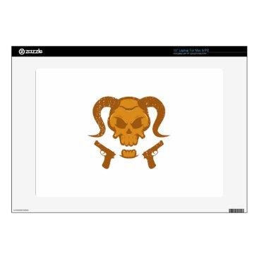 "Halloween Themed Skull with gun 15"" laptop decal"