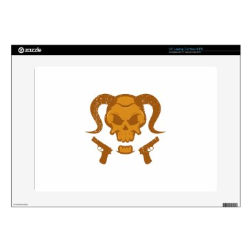 "Halloween Themed Skull with gun 15"" laptop decals"