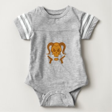 Halloween Themed Skull with gun baby bodysuit
