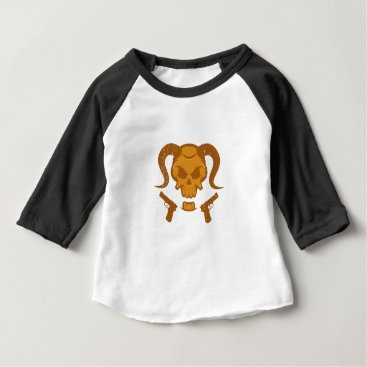 Halloween Themed Skull with gun baby T-Shirt