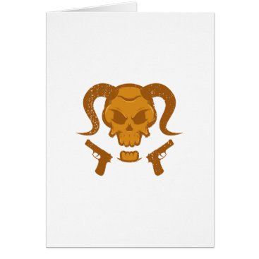 Halloween Themed Skull with gun card