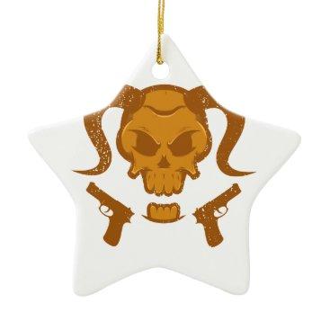 Halloween Themed Skull with gun ceramic ornament