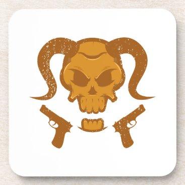 Halloween Themed Skull with gun coaster