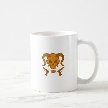Halloween Themed Skull with gun coffee mug