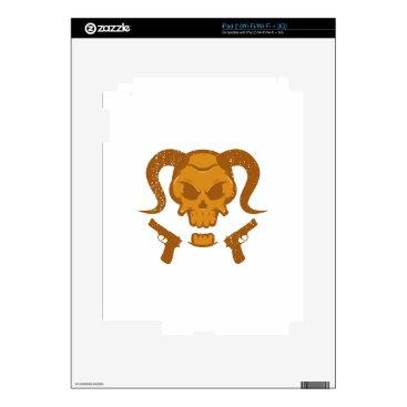 Halloween Themed Skull with gun decal for iPad 2