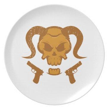 Halloween Themed Skull with gun dinner plate