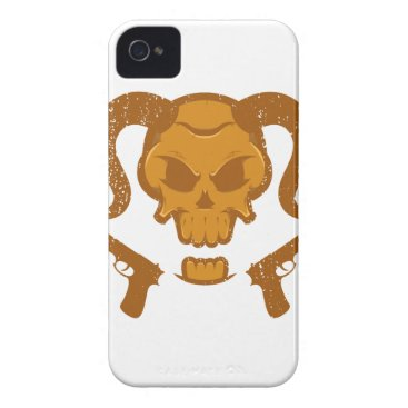 Skull with gun iPhone 4 case
