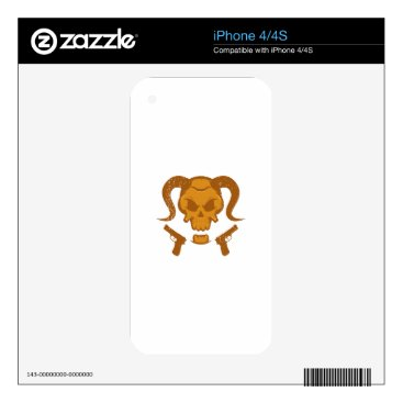 Halloween Themed Skull with gun iPhone 4 decal