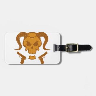 Skull with gun luggage tag