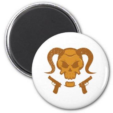 Halloween Themed Skull with gun magnet