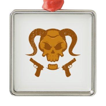 Halloween Themed Skull with gun metal ornament