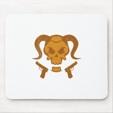 Halloween Themed Skull with gun mouse pad