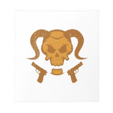 Halloween Themed Skull with gun notepad