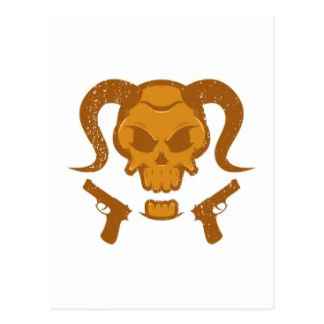 Halloween Themed Skull with gun postcard