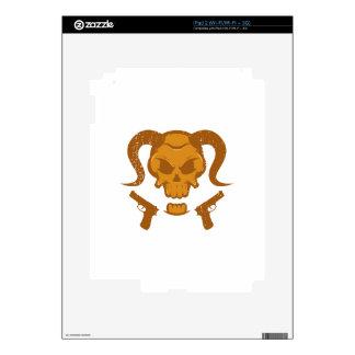 Skull with gun skin for iPad 2