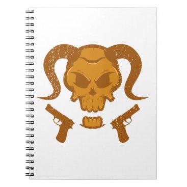 Halloween Themed Skull with gun spiral notebook